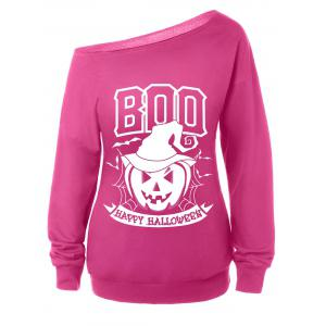 Skew Neck Long Sleeve Halloween Sweatshirt