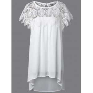 Lace Panel Chiffon Tunic Casual Dress - White - 4xl
