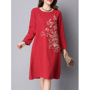 Long Sleeve Floral Embroidered Linen Dress