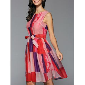 Preppy Style Sleeveless Belted Color Block Dress - Red - S