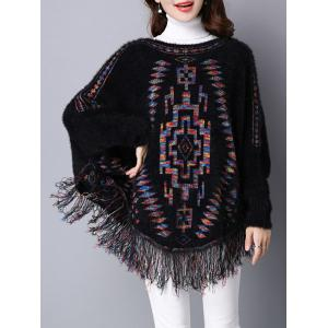 Loose Dolman Sleeve Fleece Fringed Swater - Black - One Size