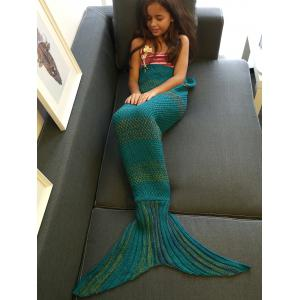 Fashion Stripe Knitted Mermaid Tail Design Blanket For Kids - Green Blue - M