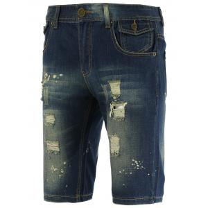 Knee Length Straight Leg Scratched Ripped Denim Shorts