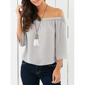 Off The Shoulder Back Bowknot Decorated Blouse