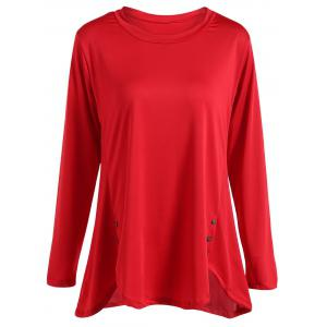 Long Sleeves Buttoned Asymmetrical T-Shirt - Red - L