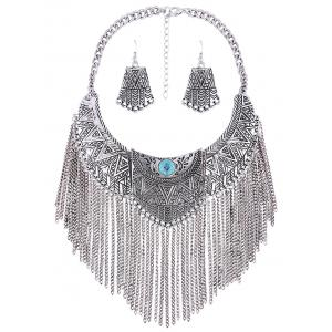 Personality Geometry Tassel Fake Collar Necklace Earrings