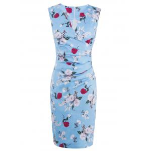 Floral Sleeveless Bodycon Ruched Bandage Dress - Light Blue - L