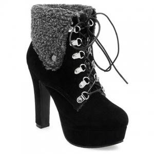 Suede Platform Tie Up Short Boots - Black - 38
