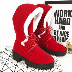 Chunky Heel Tie Up Flock Boots - Red - 39