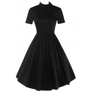 High Waisted Buttoned Flare Dress