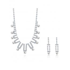 Rhinestoned Faux Pearl Wedding Jewelry Set