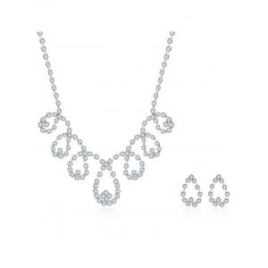 Rhinestoned Water Drop Bridal Jewelry Set - Silver - One-size