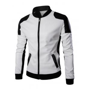 Ventilate Design Color Block Faux Leather Jacket - White - M