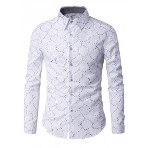 Slim-Fit Long Sleeve Abstract Pattern Shirt - White - M