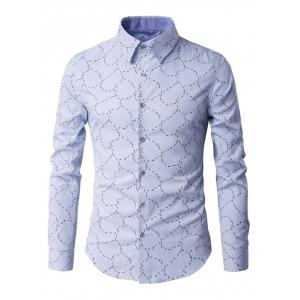 Slim-Fit Long Sleeve Abstract Pattern Shirt - Light Blue - M