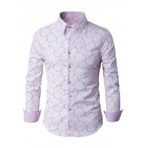 Slim-Fit Long Sleeve Abstract Pattern Shirt - Pink - L