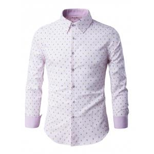 Rhombus Pattern Button-Up Long Sleeve Shirt - Pink - L