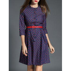 Polka Dot Buttoned Denim Dress