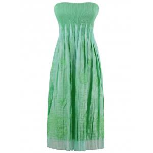 Smocked Embroidered Tube Midi Strapless Dress - Apple Green - One Size