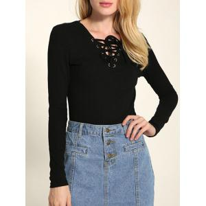 Long Sleeve Front Lace Up Knitwear