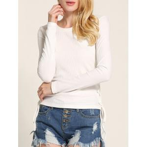 Long Sleeve Side Lace Up Knitwear - White - M