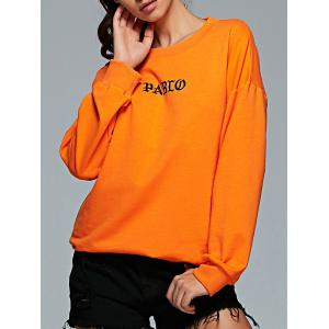 Active Round Neck Long Sleeve Letter Print Sweatshirt - Orange - S