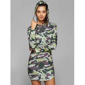 Hooded Long Sleeve Camo Bodycon Dress