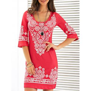 Scoop Neck Mini Printed Dress - Red - Xl