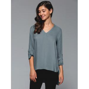 V-Neck Asymmetrical Plain Blouse