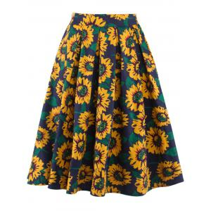 Sunflower Print High Waist Skater Skirt - Yellow - L
