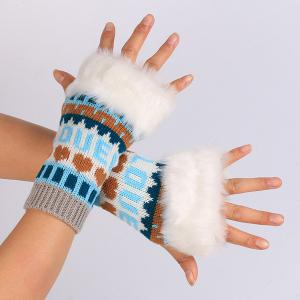 Pair of Knitted Love Letter Plush Fingerless Gloves - Lake Blue