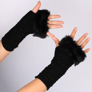 Winter Faux Rabbit Fur Knitting Butterfly Hand Fingerless Gloves
