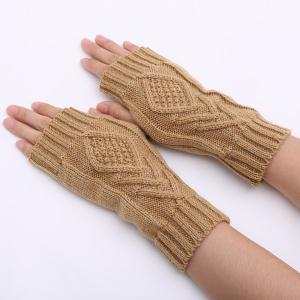 1 Pair Warm Rhombus Line Crochet Fingerless Gloves - Camel - M