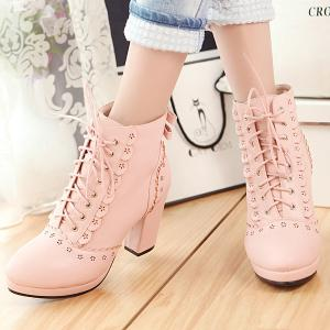 Floral Engraving Chunky Heel Short Boots