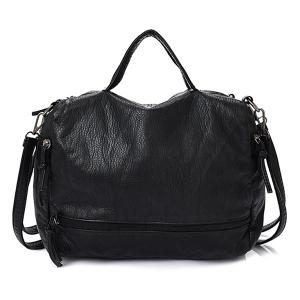 Zip Closure Washable Leather Tote Bag - Black