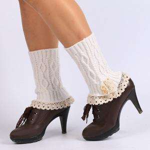 Lace Edge Buttons Rhombus Knitted Boot Cuffs - White - 2xl