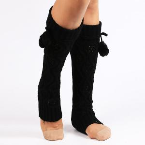 Flanging Small Ball Infinity Knitted Leg Warmers - Black - 2xl