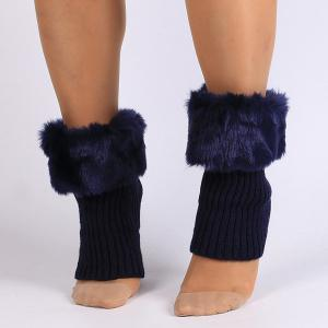 Thicken Faux Fur Edge Knitted Boot Cuffs - Deep Blue - 35