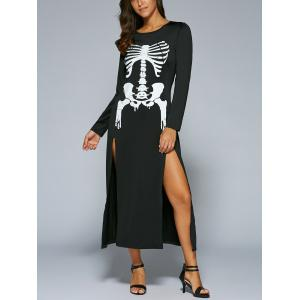 Halloween Long Sleeve Skeleton Print High Slit  Maxi Dress