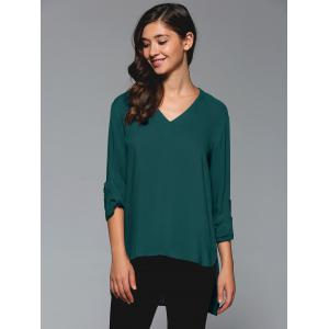 V-Neck Asymmetrical Plain Blouse - Blue Green - S