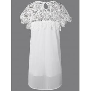Eyelash Lace Splicing Asymmetrical Dress - WHITE 5XL