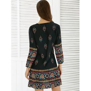 Floral African Casual Long Sleeve A Line Short Dress - BLACK XL