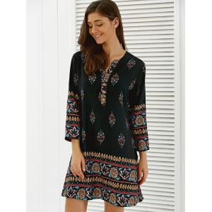 Floral African Casual Long Sleeve A Line Short Dress - BLACK S