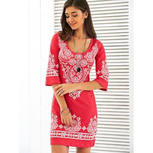 Scoop Neck Mini Printed Dress - RED L