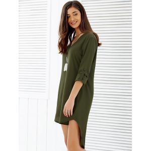 Asymmetrical V Neck Casual Going Out Dress - ARMY GREEN 3XL