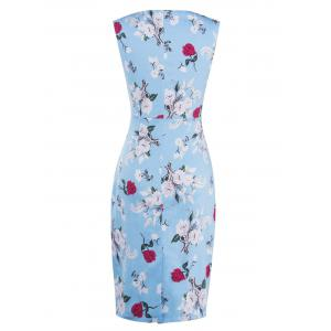 Floral Sleeveless Bodycon Ruched Bandage Dress - LIGHT BLUE 2XL