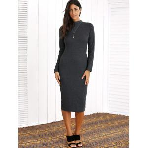 Long Sleeve Sheath Knee Length Dress -