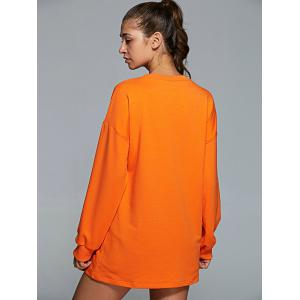 Active Round Neck Long Sleeve Letter Print Sweatshirt - ORANGE L