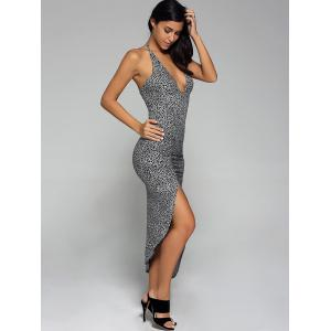 Leopard Low Cut Long Club Bodycon Dress -