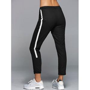 High Waisted Side Stripe Jogger Sporty Pants - BLACK ONE SIZE